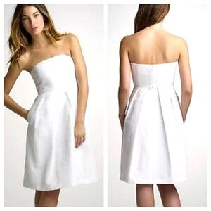 JCrew White Embossed Strapless Dress